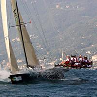 racing on sailboat